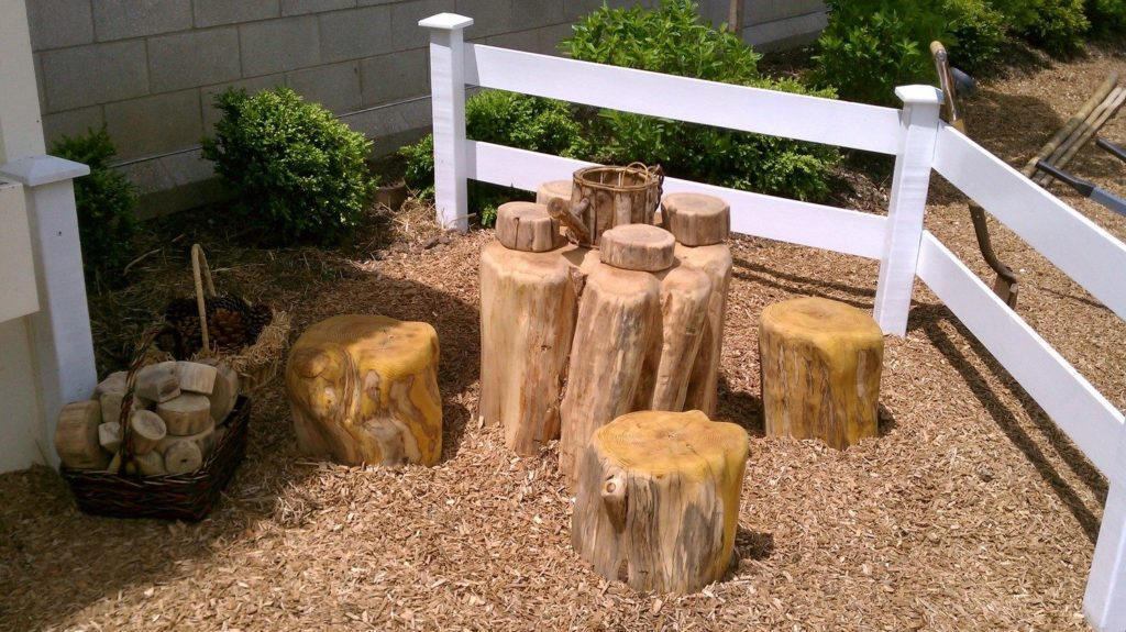 The shorter stumps, pictured here at Phipps Conservatory, are made from monkey ball wood. COURTESY OF JASON BOONE, URBAN TREE